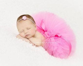 PINK TUTU with Skinny Headband, Newborn Tutu Set, Newborn Tutu, Baby Tutu, Pink Tutu, Newborn Photo Prop, Photo Prop, Tutus for Children