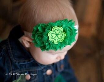 ST. PATRICKS Headband, Baby Headband, Green Headband, Headbands, Baby Headbands, Newborn Headbands, Newborn Headband, Shabby Chic Headband