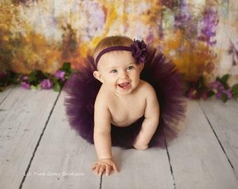 PLUM TUTU SET, Tutu with Burlap Flower Headband, Newborn Tutu, Baby Tutu, Newborn Photography Prop, Photo Prop, Tutus for Children