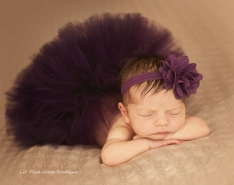 NEWBORN PLUM TUTU set, Newborn Tutu, Baby Girl, Baby Girl Gift, Baby Tutu, Plum Newborn Tutu, Newborn Photography Prop, Tutus for Children