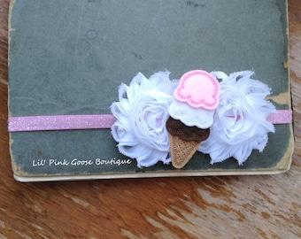 ICE CREAM CONE Headband, Ice Cream Birthday, Summer Headband, Pink and White Headband, Headbands for Babies, Infant Headbands, Headbands