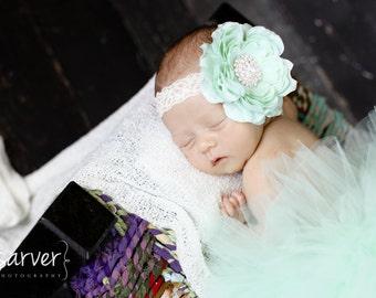 MINT TUTU with Lace Flower Headband, Newborn Tutu, Baby Tutu, Infant Tutu, Newborn Photo Prop, Photo Prop, Tutus for Children, Birthday Tutu