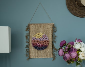 Handmade nature tapestry, macrame mural, tissage mural, sun wall tapestry, mothers day gift, woven wall hanging, japandi decor