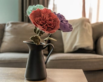Long stem rose of red, mint and lavender colours, made of felt - Rose bouquet, Mothers day gift