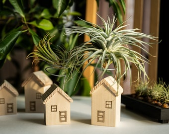 Air plant holder set of 2, tiny house air plant stand, tillandsia display, unique wooden planter