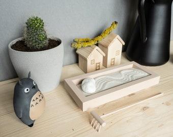 Miniature desktop zen garden kit, gift for Mom, meditation sand tray, mini sand garden, zen garden kit desk