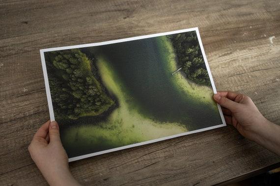 Forest print at summer, summer lake print, lake art print, mindfulness gift, Forest Wall Art, japandi wall art, green poster