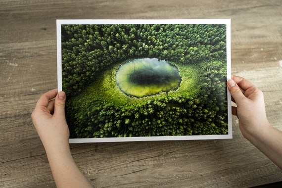 Dragon eye lake print, forest art print, forest fine art, Lithuania nature, mindfulness gift, Lake Print, Forest Wall Art, office wall decor