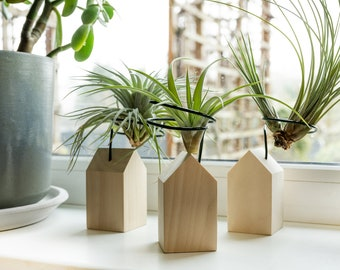 Air plant holder made of wood, tiny house shape plant stand, air plant display, plant lover gift, minimalist planter, tillandsia planter