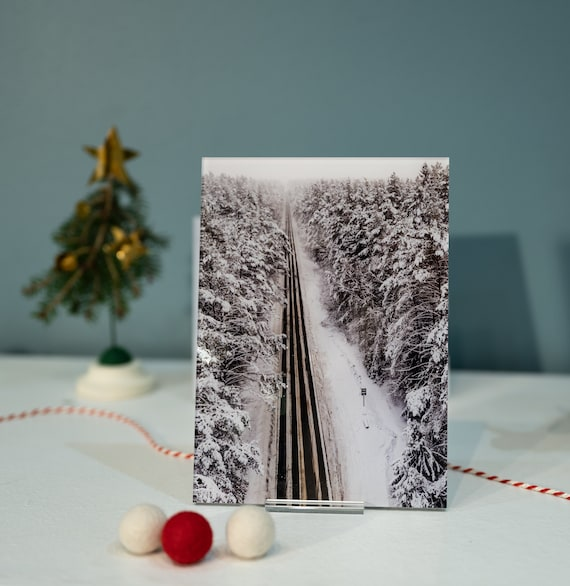 Acrylic photo print of snowy road, ready to use, fridge magnets, home office decor, wall art, wall decor ideas, gift for mom, acrylic block