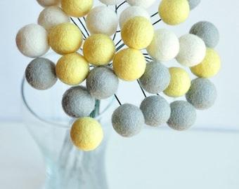 Pastel billy ball flowers, pom pom flowers, yellow grey craspedia, billy button flowers, office bouquet, felt billy buttons, felt balls