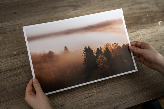 Misty landscape print, brown wall art, tree wall art, mindfulness gift, Forest Wall Art, japandi wall art, mountain wall art
