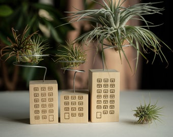 Air plant holder set of 3, tiny house air plant stand, tillandsia display, unique wooden planter, mini skyscraper, mini city