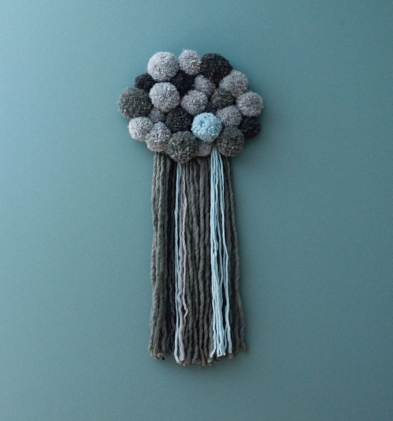 Cloud baby mobile Pompom cloud pompom wall hanging grey image 0
