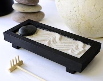 Zen garden kit, gift for her, zen garten, desktop zen garden, play therapy office, zen jardin, meditation box, mini sand garden, japandi