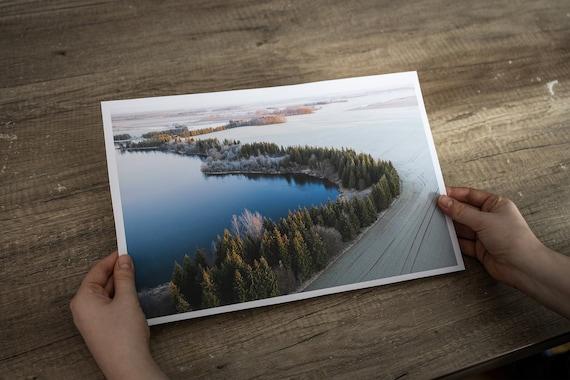 Winter landscape print, tree art print, curvy lines print, lake photo print, mindfulness gift, monotone wall, Forest Wall Art, japandi decor