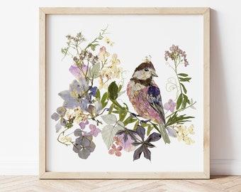 Pressed flowers print set bird art set Botanical artworks Dried flowers nursery bird artpastel colors flower set bird wall art vintage