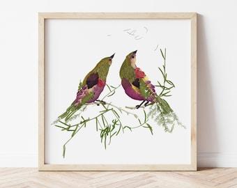 Wall art print botanical print Original pressed flower art Love birds Wall art illustration Bird prints Framed wall decor Dried flowers