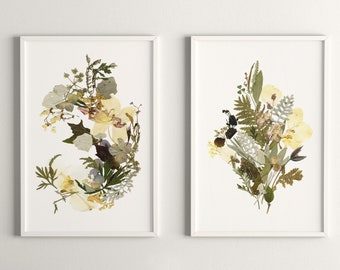 Floral prints A4  Unframed Boho flowers print set Pressed flower art Botanical artworks Dried flowers Living room art Herbarium art Leaf art