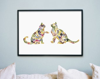 Cats playing print Pressed flower art Gift for cat lover Kind room decor Dry pressed flower Cat art Nursery wall decor Flower print cats