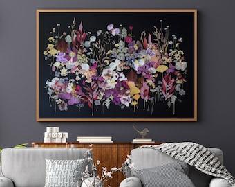 Etsy Design Awards finalist 2021 Pressed flower PRINT, Botanical art PRINT, Dried flowers collage, Flower wall art on black,Herbarium