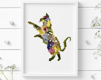 Print cat Pressed flowers print Floral print Cat lover gift