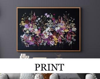 PRINT Pressed flower art, Botanical art from real plants, Dried flowers collage, Flower wall art on black,Herbarium