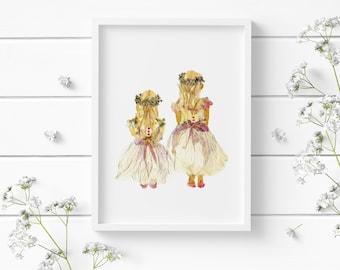 Baby girls print 5x7, Pressed flower print, Girl nursery decor, Floral wall art, flower girls print, Nursery wall art