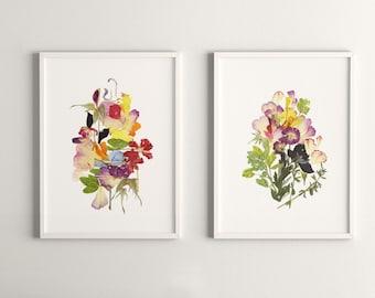 Set of 2 Plant prints Flowers wall decor prints Dry flower art Botanical print set Pressed flower art Herbarium Nature art floral print