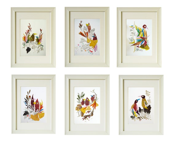 Set of 6 prints Flower print wall art Set of 6 bird print Fine | Etsy