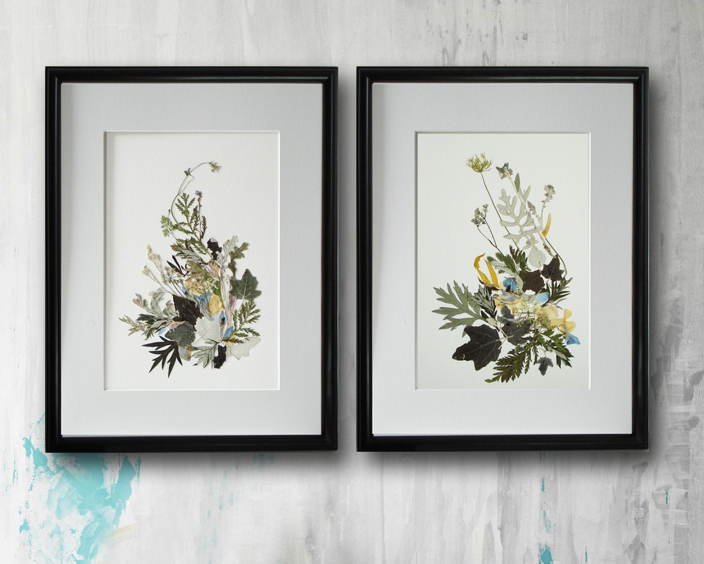 2er Set gerahmt Drucke gepresste Blumen gerahmt Wandkunst   Etsy