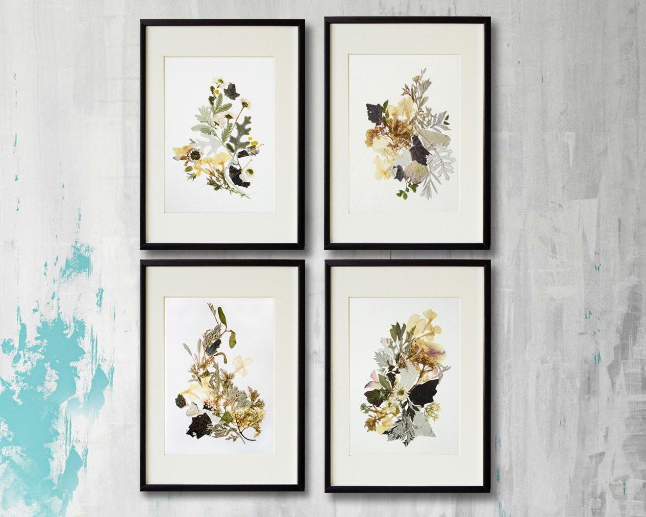 Set von 4 gerahmte Drucke Pflanze Kunst zeitgenössische Kunst   Etsy