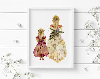 Flower girls print, Pressed flower art, Nursery wall decor, Room decor for teen girls, Floral nursery, dried flowers print