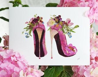 Pressed flower louboutin wall art Print, Fashion Illustration, Flower art print, Dried flowers louboutin shoes print, Art for women