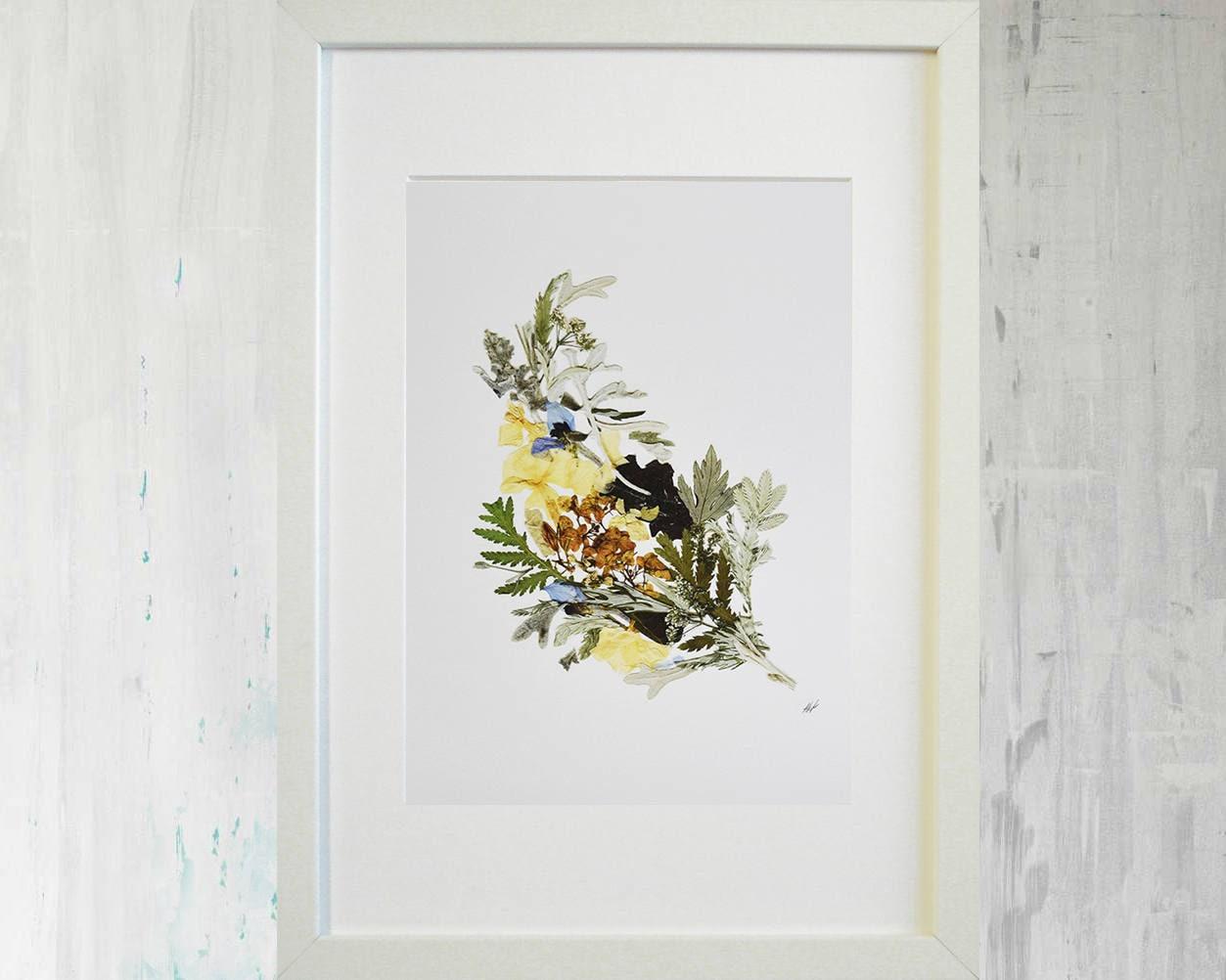 Blumen print botanischen Druck gepresste Blatt Kunst