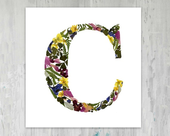 Signe De Lettre Alphabet Imprimer Signe Fleurs Pressées Art Majuscule Décor Secs Fleurs Nom Art Art Floral Lettre Décoration Botanique Art Mural