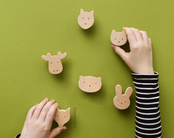 Wooden Animal Knobs for Kids Room Drawers and Cabinets - Woodland - Set of 6