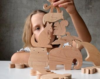 Wooden Waldorf animal toy set