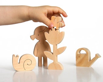 Educational Natural Wooden Toy Set - Garden - Personalized Toy for Girl