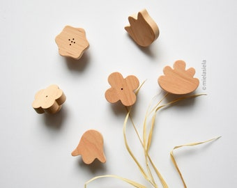 Wooden knobs for nursery dresser and cabinets, Pulls for kids room furniture - Flowers