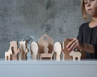 Nativity Scene - Set of 11 wooden figures