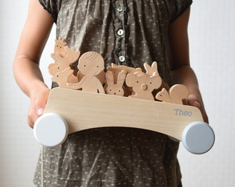 Wooden Pull Along Toy Wagon Cart