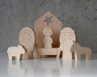 Wooden Christmas Nativity Set of 7 pcs