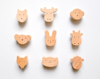 Wooden Animal Knobs for Nursery drawers or cabinets by Mielasiela - 1 pcs