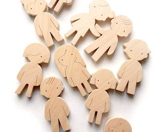 Waldorf natural wooden dolls - People figures