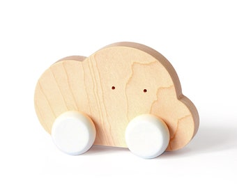 Wooden Push Along Toy - Cloud - Toy on wheels for toddlers