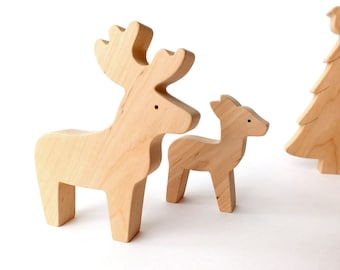 Wooden Toys, Christmas decoration - Deer, Fawn, Fir Tree - Woodland Kids room decor