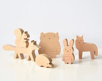 Wooden Forest animal set for toddlers and preschoolers