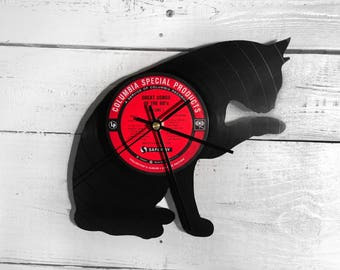 Cat Vinyl Record Clock • Unique Gifts for Women • Hipster Cat • Christmas Gifts for Girlfriend • Christmas Gifts for Wife • Retro Home Decor