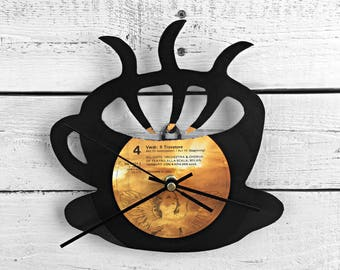 Coffee Mug Clock | Vinyl Record • Upcycled Recycled Repurposed • Kitchen Decor • Shadow Art • Sillhouette